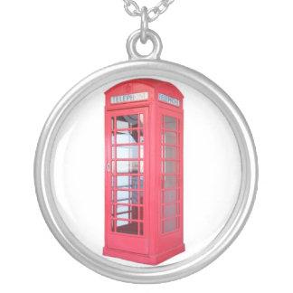 Cabina de teléfono roja colgante redondo
