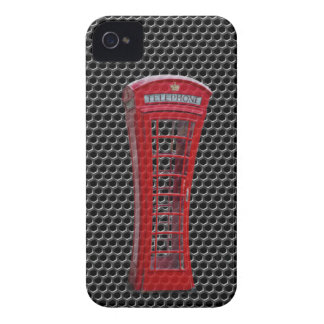 cabina de teléfono roja del carbono del caso del i Case-Mate iPhone 4 protectores