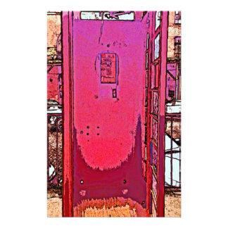 Cabina de teléfono rosada magenta del estallido  papeleria de diseño