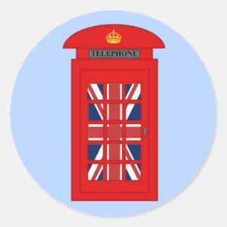 Cabina de teléfonos británica pegatina redonda