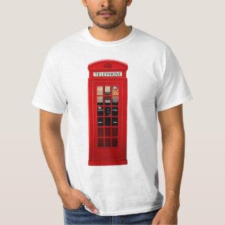 Cabina de teléfonos británica roja playera