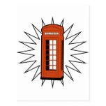 Cabina de teléfonos británica vieja postal