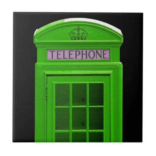 Cabina de teléfonos de Londres Inglaterra Azulejo Cuadrado Pequeño
