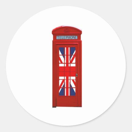 Cabina de teléfonos de Londres Inglaterra Pegatina Redonda