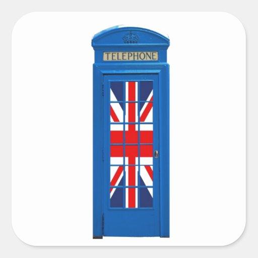 Cabina de teléfonos de Londres Inglaterra Pegatina Cuadradas Personalizada