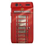 Cabina de teléfonos roja británica clásica droid RAZR funda