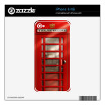 Cabina de teléfonos roja británica clásica calcomanías para el iPhone 4S