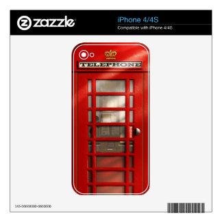 Cabina de teléfonos roja británica clásica skins para eliPhone 4