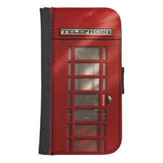 Cabina de teléfonos roja británica del vintage fundas cartera de galaxy s4
