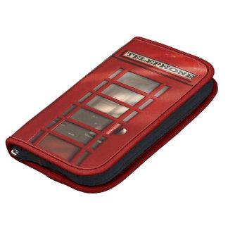 Cabina de teléfonos roja británica del vintage organizador
