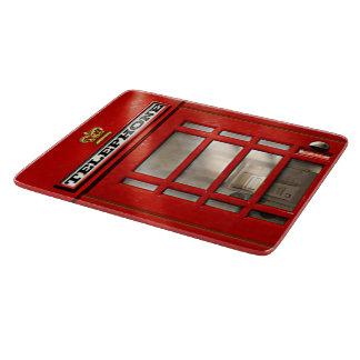 Cabina de teléfonos roja británica del vintage tablas de cortar