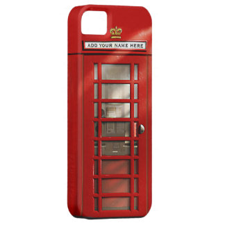 Cabina de teléfonos roja británica personalizada funda para iPhone 5 barely there
