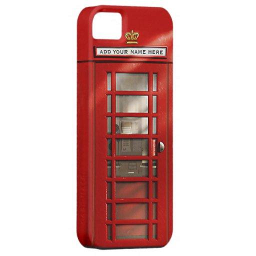 Cabina de teléfonos roja británica personalizada iPhone 5 cárcasa