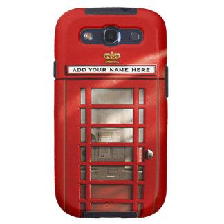 Cabina de teléfonos roja británica personalizada samsung galaxy s3 fundas