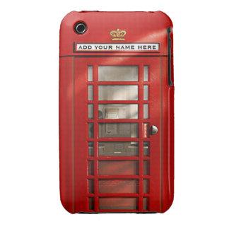 Cabina de teléfonos roja británica personalizada iPhone 3 Case-Mate cobertura
