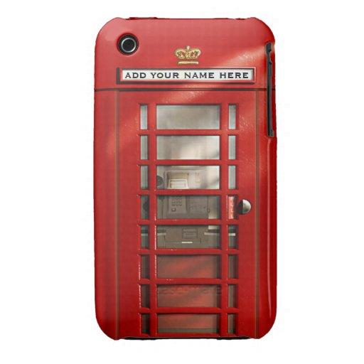 Cabina de teléfonos roja británica personalizada iPhone 3 Case-Mate protectores