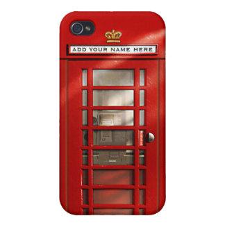 Cabina de teléfonos roja británica personalizada iPhone 4 carcasas