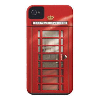 Cabina de teléfonos roja británica personalizada iPhone 4 Case-Mate fundas