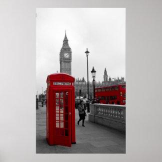 Cabina de teléfonos roja de Big Ben del autobús de Póster
