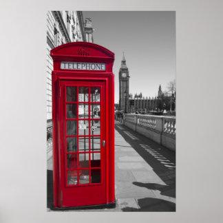 Cabina de teléfonos roja de Big Ben Póster