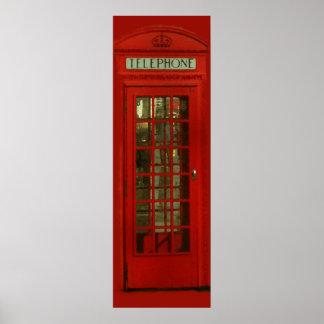 Cabina de teléfonos roja de la ciudad de Londres Póster