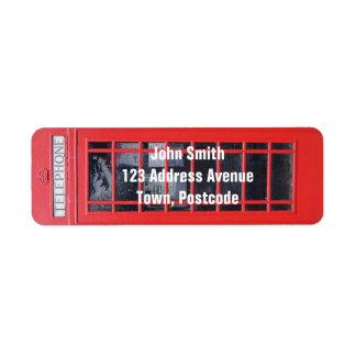 Cabina de teléfonos roja de Londres Etiquetas De Remite