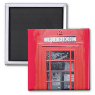 Cabina de teléfonos roja de Londres Imán Cuadrado