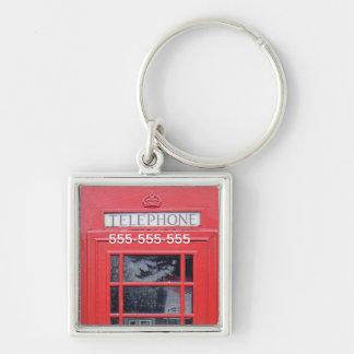 Cabina de teléfonos roja de Londres Llavero Cuadrado Plateado