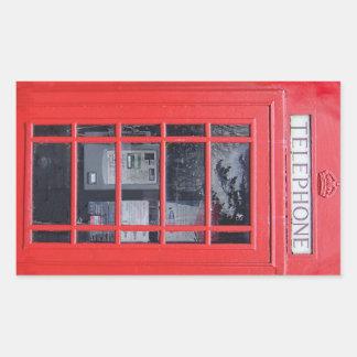 Cabina de teléfonos roja de Londres Pegatina Rectangular