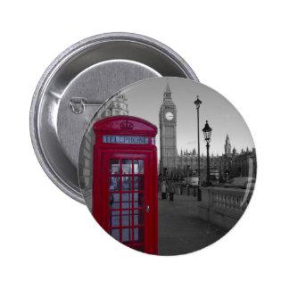 Cabina de teléfonos roja de Londres Pin Redondo De 2 Pulgadas