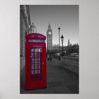 Cabina de teléfonos roja de Londres Póster