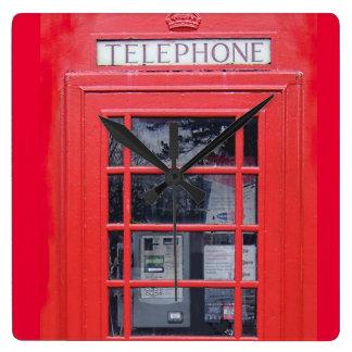 Cabina de teléfonos roja de Londres Reloj Cuadrado