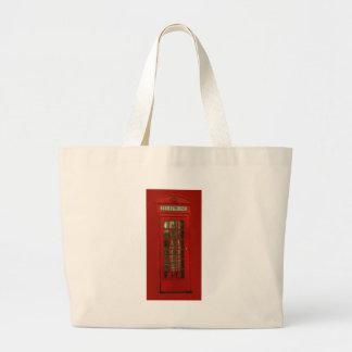 Cabina de teléfonos roja del vintage bolsa tela grande