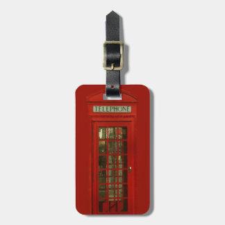 Cabina de teléfonos roja del vintage etiqueta para maleta