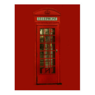 Cabina de teléfonos roja del vintage postal