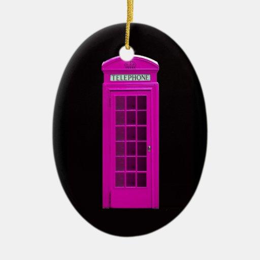 Cabina de teléfonos rosada de Londres Adorno Navideño Ovalado De Cerámica