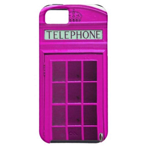 Cabina de teléfonos rosada de Londres iPhone 5 Funda