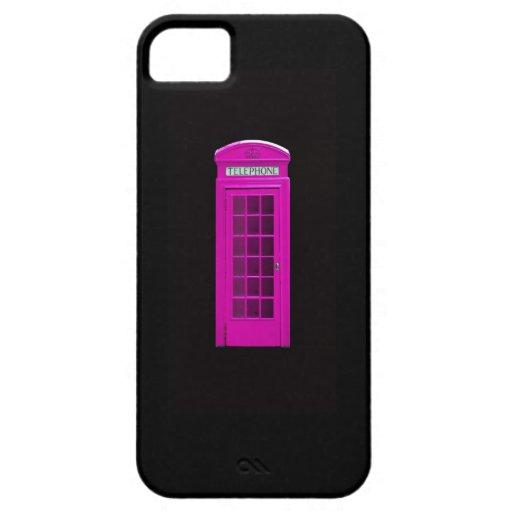 Cabina de teléfonos rosada de Londres iPhone 5 Carcasas