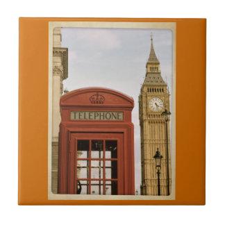 Cabina de teléfonos y torre de Big Ben Azulejo Cuadrado Pequeño