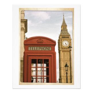 """Cabina de teléfonos y torre de Big Ben Folleto 4.5"""" X 5.6"""""""