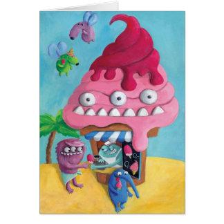Cabina del helado en la playa tarjeta de felicitación