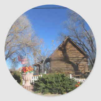 Cabina del mormón de Arizona Pegatina Redonda