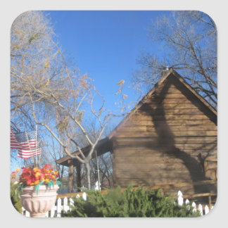 Cabina del mormón de Arizona Pegatina Cuadradas