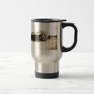 Cabina del oeste vieja del vintage tazas de café