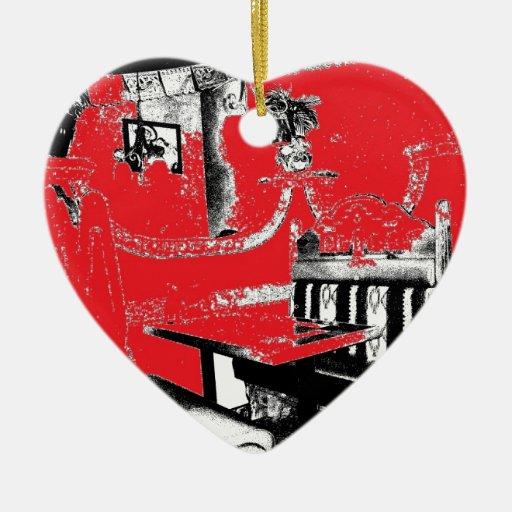 Cabina del restaurante en rojo adornos de navidad