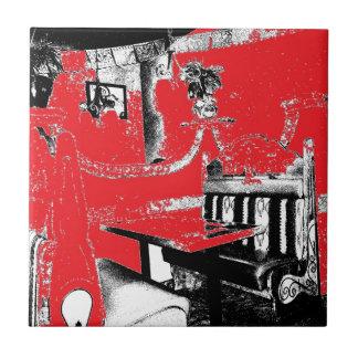 Cabina del restaurante en rojo azulejo ceramica