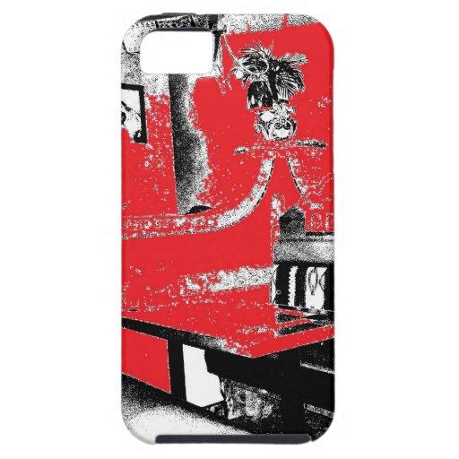 Cabina del restaurante en rojo iPhone 5 fundas