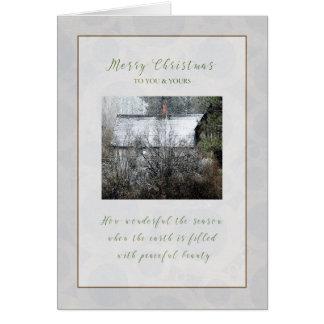 Cabina Nevado del navidad en la tarjeta de Navidad