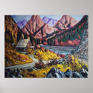 Cabina por el poster de la pintura al óleo del lag