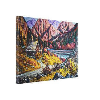 Cabina por la pintura al óleo del lago impresión en lienzo